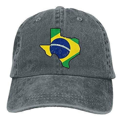 deyhfef Brasilien-Flaggen-Texas-Karten-Weinlese-Denim-Baseballmütze-justierbarer Vati-Hut Unisex Multicolor98