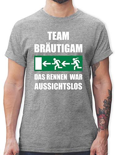 JGA Junggesellenabschied - JGA Team Bräutigam - Das Rennen war aussichtslos - XXL - Grau meliert - L190 - Herren T-Shirt und Männer Tshirt