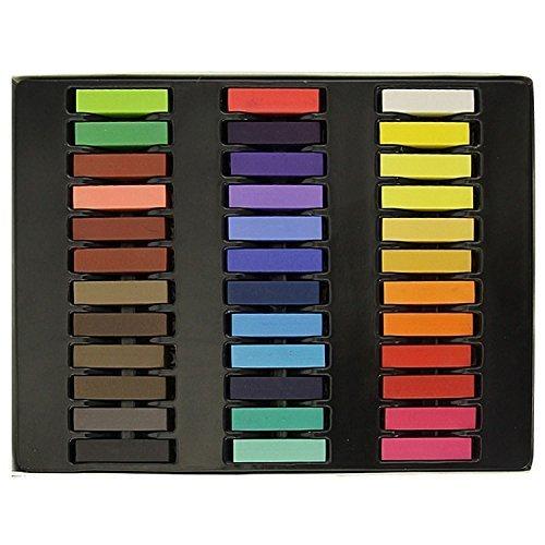 Craie de Cheveux Trimming Shop Temporaire Craie de Cheveux Couleur Pastel Coloration Cheveux - non Toxique - Multi, 36 Pc