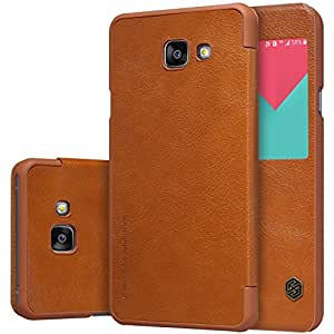 MVE(TM) NILLKIN Qin Series Wallet Flip Leather Cover For Samsung Galaxy A5 SM-A510F (2016) Smart Dormancy View Window Case BROWN