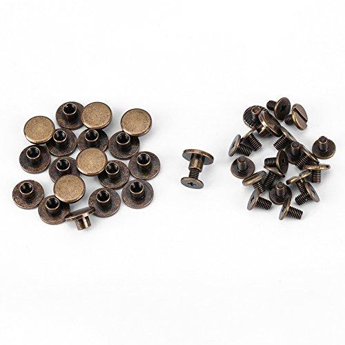 20pcs Flat Head Nieten, Kupfer Messing Schrauben Rivnut Anti-Rost-Muttern Nägel Nieten Leder Cap Zubehör Kit für DIY oder Reparaturarbeiten(5mm) (Leder-nieten-cap)