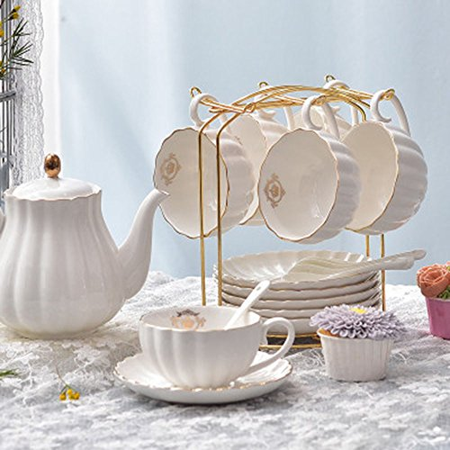 Coupe de café en céramique 6 ensembles / tasse d'après-midi Ensembles / 1 pot 6 tasse 6 disques (4 couleurs en option) ( couleur : D )
