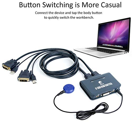 Beatie DVI Switcher KVM-Schalter 2-Port-USB-HDMI-Kabel KVM-Switch-Videokabel und USB-Peripherie-Sharing-Unterstützung HD-Auflösung KVM-Switch HDMI