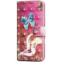 Tophung Funda para Samsung Galaxy S9 (piel sintética, con tapa a prueba de golpes, cierre magnético, función atril, cierre magnético), Blue Butterfly