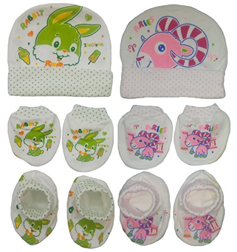 Sonpra New Born Baby 100 % Cotton Caps Mittens Booties Combo Set (0 -3 Month) (0-3 months)