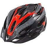 Leoie Generic Cycling Helmet,Bicycle Adult Bike Safe Helmet Carbon Hat with Visor 19 Holes Red