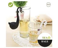 Idea Regalo - tea-bagz/Set di 2Infusori di tè in forma di cigno nero e bianco/ideale per una Infusion Bio/tisana/tè Verde,/tè Nero/accessori Home e Cucina/diffusore a tè Original/diffusore a tè di alta qualità/diffusore di tè 100% silicone/infusore per tè in silicone atossico/infusore per tè alta resistenza/infusore per tè simpatico/infusore di tè divertente/infusore per tè riutilizzabile/diffiseur di tè lavabile/Filtro a tè singola/Filtro Diffusore a tè/