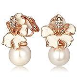 Kemstone - Orecchini a clip da donna, con perle sintetiche e fiori in due toni, nero e bianco e metallo placcato oro rosa, colore: White, cod. 200680008-EU