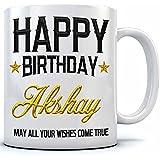 Happy Birthday Akshay Name Printed Ceramic Coffee Mug. 350 Ml.Birthday Gift,Akshay Name Coffee Mug