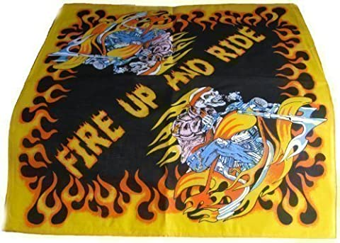 100% Cotton Bandana Scarf 55cm square,Fire Up and Ride Skeleton On Motor cycle design .Brand new item .Ideal every day wear ,Bikers etc .
