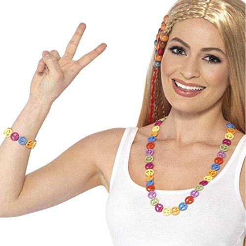 NET TOYS Peace Schmuckset Hippie Armband und Kette 2-teilig Flower Power Schmuck Blumenkind Modeschmuck Halskette 60er 70er Jahre Accessoires Kostüm Zubehör Woodstock