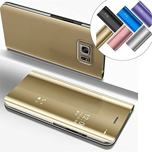 6fd2b95c359 COTDINFOR Samsung S6 Edge Plus Funda Espejo Ultra Slim Ligero Flip Funda  Clear View Standing Cover