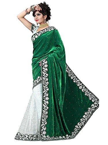 Shree Nimbark CreationWomen's Velvet Green Saree With Blouse (S 1005-V)