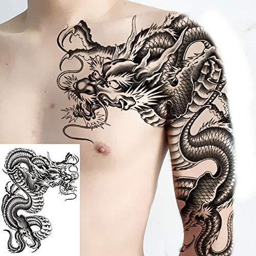 Temporäre Tätowierung Aufkleber Chinesischer Drache Temporäre Tätowierungen Männer Schulter Tattoo Jungen Große Armbrust Body Art Brust Tattoo Fake