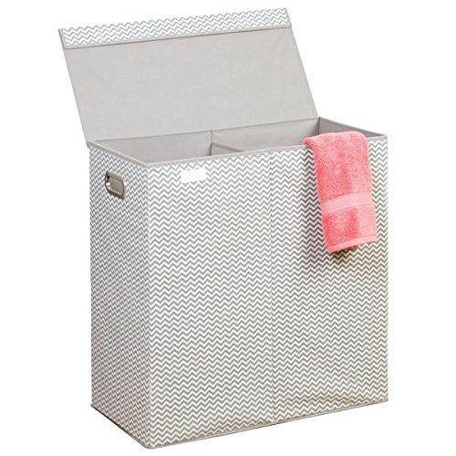 Mdesign portabiancheria in polipropilene – cesto portabiancheria per camerette o bagno con maniglie – cesto biancheria pieghevole con 2 scomparti e design a spina di pesce – grigio/bianco