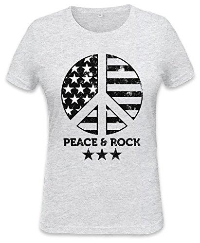 Peace And Rock Womens T-shirt XX-Large (Womens 1960 Shirt Hippie)