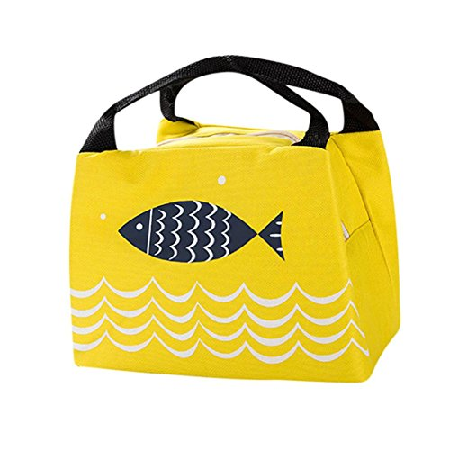Coupon Matrix - Insulation Package Portable Tote Picnic Lunch Bag EUzeo Unisex Waterproof Oxford Cloth Handbag Fish Pattern Bento Pouch With Zipper Clearance Sale (Yellow)