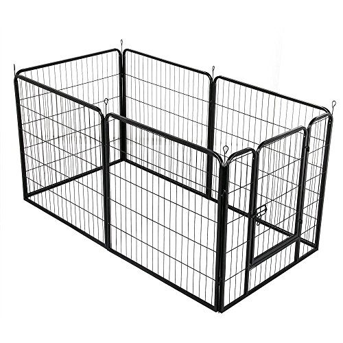 Yaheetech Welpenlaufstall Metall Freilaufgehege Welpenauslauf mit Tür aus 6 Panlen Für Hund, Katze, Welpe, Kaninchen, Meerschweinchen
