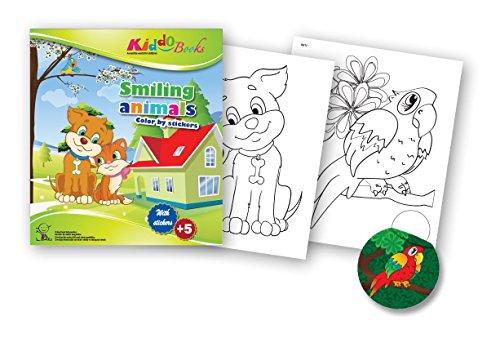 QuackDuck Malbuch Smiling Animals - Color by Stickers - Fröhliche Tiere - Malen mit Aufkleber Sticker Vorlagen - Malblock für Kinder ab 5 Jahre - mit buntem Sammelumschlag zum Einstecken