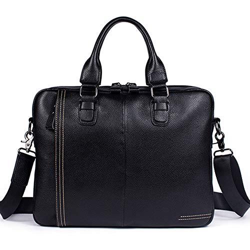 Laptop Messenger Bag 15,6 Zoll Laptop Tasche wasserabweisende Aktentasche stilvolle Umhängetasche für Schule/Business/Frauen/Männer,Black-OneSize - Zwickel-aktentasche Aus Leder
