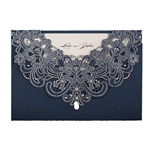 NAVY blau Laser geschnitten Flora & Lace Hochzeit Einladungen Kit, mit Strass (20Stück) (Hochzeit Einladung-kit Braut)