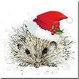 Luxus Weihnachten–Weihnachten Igel–Aquarell von Sarah Boddy–Single Karte–Weiß