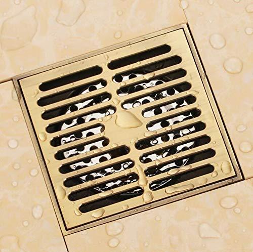 Rmbearmoni Bodenablauf Solid Brass 100 X 100Mm Square Anti-Odor Floor Drain Bathroom Shower Drain -