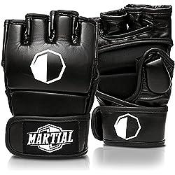 Guanti MARTIAL MMA UFC, Allenamento Pugilato e Sacco Boxe | Imbottitura Alta Protezione | Polso Extra Stabile | Pelle PU | Borsa Inclusa | Guantini Kick Boxing, Grappling e Full Contact Sparring