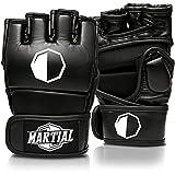 MARTIAL MMA Handschuhe mit hochwertiger Polsterung! Boxhandschuhe für hohe Stabilität im Handgelenk. Freefight Gloves mit langer Haltbarkeit für Kampfsport, Boxen, Kickboxen, Sparring inkl Beutel! (Schwarz, S)
