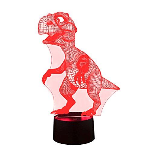 3D Illusion Nachtlampe, SUNINESS 7 Farben ändern Touch Control LED Schreibtisch Tisch Nachtlicht für Kinder Kinder Familie Ferienhaus Dekoration Valentinstag beste Geschenk (Dinosaurier)