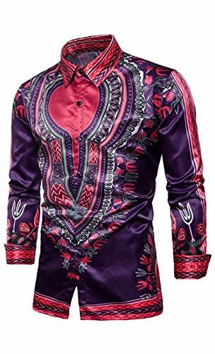 SUProcer Herren Button Down Kleid Shirts Shiny Slim Fit Disco Tanz Tops Kostüm Party Clubwear