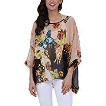 DJT Women's Floral Batwing Sleeve Beach Loose Blouse Tunic Tops
