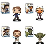 FunkoPOP Star Wars The Clone Wars: Ahsoka + Yoda + Obi-Wan + Anakin - Stylized Vinyl Bobble-Head Figure Disney Multicolor Bundle Set