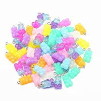 Bear Charms - ANPHNIE 100 Pieces Colorful Gummy Resin Bear Charms Pendants Resin Bear Keychains DIY Jewelry Necklace Supplies …