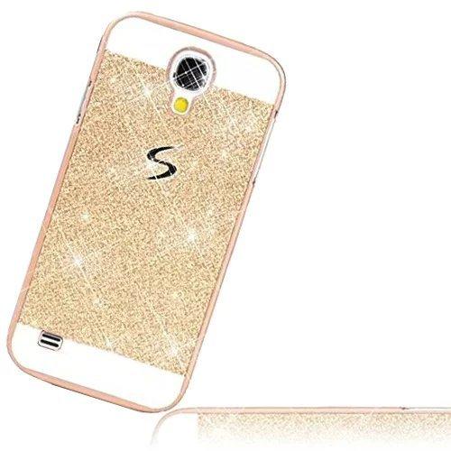 Samsung S4 Mini Schutz Bling Hart Case - Sunroyal Gold Diamant Luxus Kristall Strass Glitzer Shining Hard Back Cover Schale Handy Tasche Etui Hülle für Samsung Galaxy S4 Mini S IV Mini I9190 GT-I9190
