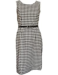 46843f870745ab 50s Style Black   White Belted Houndstooth Dress