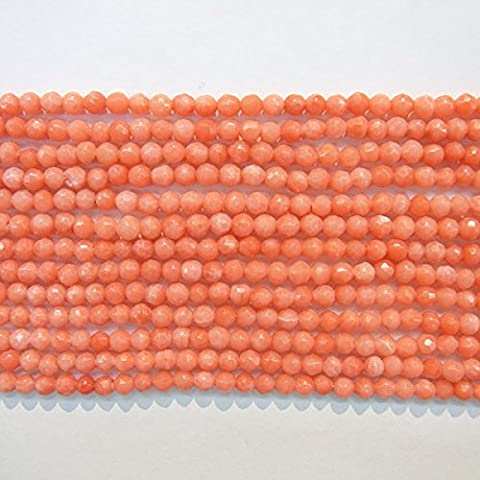 TheTasteJewelry 2mm Round Cut Orange Coral Beads 15 inches 38cm Jewelry Making Necklace Healing