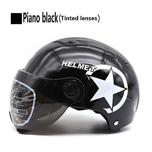 Liu zhen casco moto casco casco elettrico casco batteria casco casco protettivo casco estivo unisex,black