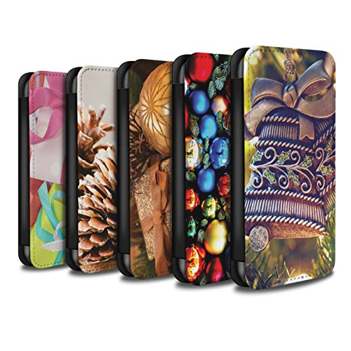 Stuff4 Coque/Etui/Housse Cuir PU Case/Cover pour Apple iPhone X/10 / Cone Pin/Conifère Design / Photo de Noël Collection Pack 5pcs