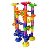 Koiiko® Marble Race Deluxe (105 Stück) Klassisches Endlosbahn Design Fun Kit mit 75 Plastikbausteine + 30 Kunststoff-Rennmurmeln für Kinder
