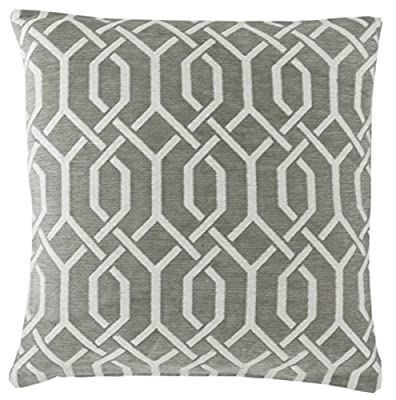 "Grey & White 18"" Luxury Chenille Geometric Cushion Cover"
