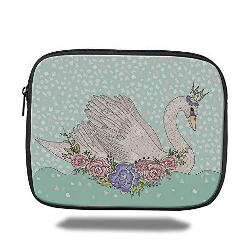 Beige Queen 14 (Laptop Sleeve Case,Queen,Cute Cartoon Swan on Water Crown Flowers Dreamy Fairytale Kids Playroom,Mint Green Beige Coral,Tablet Bag for Ipad air 2/3/4/mini 9.7 inch)