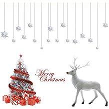 Deggodech DIY Navidad Pegatinas de Pared Extraíble Blanco árbol de Navidad Adhesivo Ventana Reno de Navidad
