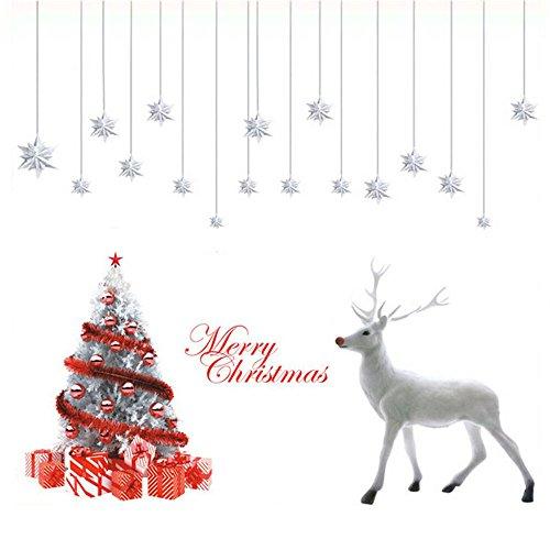 Deggodech DIY Weihnachten Wand Tattoo Wanddeko Abnehmbare Weiß Weihnachtsbaum Wandaufkleber mit Elch für Weihnachts Fenster Sticker Dekoration