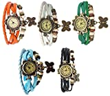 Pappi Boss Unique Designer Set of 5 Combo Offer Vintage Leather Multicolor Butterfly Bracelet Watch for Girls & Women