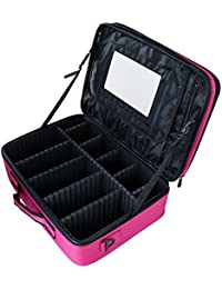 Hotrose 4 Layer Cosmetic Shoulder Bag With Mirror - Portable Makeup Brushes Case Toiletry Bag Travel Kit Organizer...