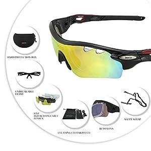DUCO 0025 – Gafas de sol deportivas, polarizadas, con 5 lentes intercambiables.