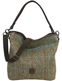 015db92fe80e Bonfanti Italian Leather And Harris Tweed Hobo Shoulder Handbag - Tartan
