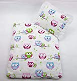 Rawstyle 4 tlg. Set Bezug (Eulen Rosa) für Kinderwagen Garnitur Bettwäsche Decke + Kissen + Füllung