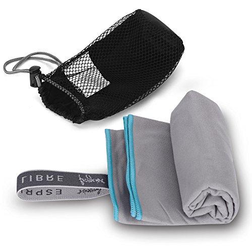 Mikrofaser-Handtuch grau [100x50cm] weich, saugfähig und schnelltrocknend » Reise-Handtuch ideal für Sport, Outdoor, Sauna, Yoga Mircofaser-Badetuch « Microfibre Towel/Tuch mit Tasche